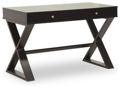 Baxton Studio - Baxton Studio Ottwell Dark Brown Modern Desk - Bold, blocky X-shaped legs make this one distinctive desk! The Ottwell Contemporary Desk is best suited for use in the home office and has useful, distinguished features: a sizeable desktop makes it easy to get down to business while two drawers, resting on metal drawer slides, provide a good amount of storage for small workplace essentials. Malaysian craftsmen take sturdy rubberwood and engineered wood, overlay it with rich dark…