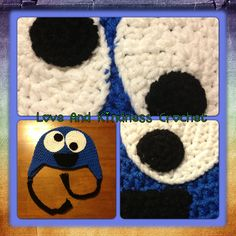 Cookie Monster hat - Comes in ALL sizes - Tassels are the color(s) of your choice - Made to Order - $25-$35 shipped in the US