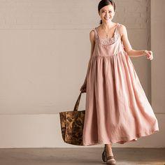 Art Cotton Linen Condole Belt Dress Summer Big Hem Women Clothes