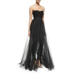 Monique Lhuillier Strapless Jumpsuit W/Removable Skirt (10 600 PLN) ❤ liked on Polyvore featuring skirts, noir, monique lhuillier, detachable skirt, monique lhuillier skirt, lace skirt and knee length lace skirt