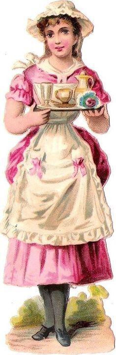 Oblaten Glanzbild scrap die cut chromo Dame femme Lady Serviererin