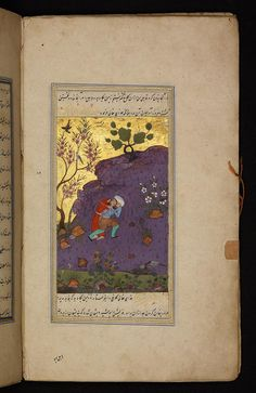 Qabil (Cain) and the dead Habil (Abel) God sent a crow to show where to bury the dead brother, and to be regretful within - Qisas al-anbiya. Digital Collections of the Berlin State Library Staatsbibliothek Berlin, Royal Purple Color, Cain And Abel, Story Drawing, Illuminated Manuscript, 16th Century, Islamic Art, Crow, Amazing Art