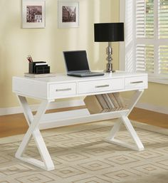White Casual Three Drawer Desk With Criss Cross Legs Coaster Furniture Writing Desks Home Wood Office Desk, Home Office Desks, Home Office Furniture, Modern Furniture, Apartment Furniture, Wood Furniture, Contemporary Desk, Modern Desk, White Writing Desk