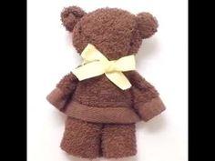 make a cute bear from a towel - YouTube