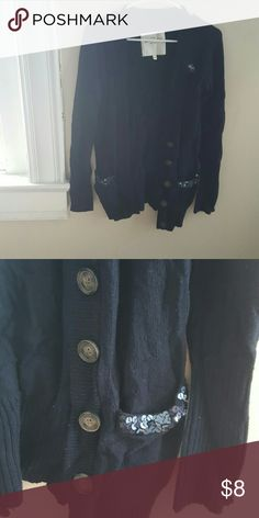 Navy Abercrombie cardigan Longer navy cardigan from Abercrombie. Tortoiseshell buttons and navy sequined pockets. Large in Abercrombie kids, but fits me and I'm a medium. Abercrombie & Fitch Sweaters Cardigans