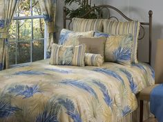 Passion Cay Yellow and Blue Floral Bedding by Victor Mill is made in the USA and perfect for those who prefer a watercolor, like design in shades of yellow and blue floral motifs. Beach Comforter, Linen Comforter, Comforter Cover, Designer Comforter Sets, Bedding Sets, Quilt Bedding, Bedroom Bed, Master Bedroom, Bedrooms