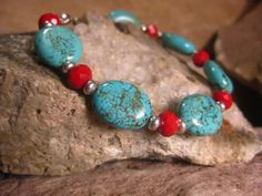 Turquoise Magnesite & Ruby Red Crystals Handmade Bracelet, Handmade Jewelry from The Hidden Meadow