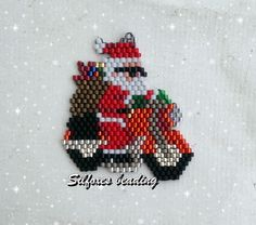 il motociclista - Motocycle Pictures and Wallpapers Hama Beads Patterns, Seed Bead Patterns, Peyote Patterns, Beading Patterns, Beaded Christmas Ornaments, Christmas Crafts, Xmas, Beaded Spiders, Beaded Banners