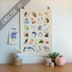 Impression, ABC abc animaux, alphabet animaux, imprimer alphabet, alphabet artistique, pépinière d'abc, abc art, art alphabet affiche, aquarelle, mur by joojoo on Etsy