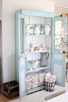 The paint color for the outside of the cabinet was color matched by  Benjamin Moore.  Here is the oil based formula for a quart size can of paint~  Pastel Base~1B  1 1/2 oy  5 bk  2 bb  7 tg  2 wh