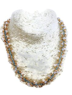 Blue necklace.Golden necklace.beaded by ChantalJewelry on Etsy