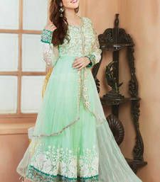Buy Light Green embroidered Chanderi semi stitched salwar with dupatta anarkali-salwar-kameez online