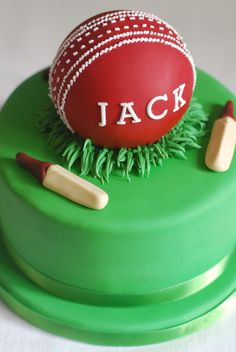 Cricket Cake - Afternoon Crumbs - I can't say I've ever watched a whole (or even half) of a cricket match. It's definitely not - 40th Cake, Dad Cake, 40th Birthday Cakes, Birthday Nails, Cricket Birthday Cake, Cricket Theme Cake, Sport Cakes, Pokemon, Birthday Breakfast