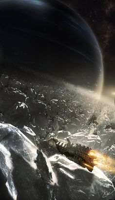 Frigate in an ice field. See more #space .#scifi pics at www.freecomputerdesktopwallpaper.com/wspacefour.shtml Thank for viewing!