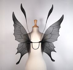 Fairy Wings - Ideal for dark fairy costume, Halloween costume, fairy photography - Gothic Wings - Black Fairy Wings - Handmade. $85.00, via Etsy.