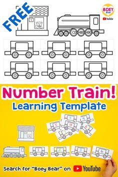 Train Crafts Preschool, Trains Preschool, Train Activities, Numbers Preschool, Printable Activities For Kids, Toddler Learning Activities, Printable Crafts, Templates Printable Free, Toddler Preschool