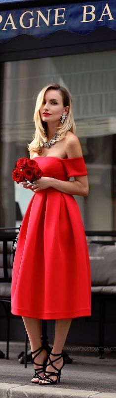 The Red Dress /strapless . women fashion outfit clothing stylish apparel @roressclothes closet ideas