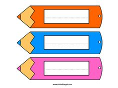 segnalibro-matita Classroom Pictures, Classroom Themes, Class Decoration, School Decorations, Name Tag For School, Cubby Tags, School Labels, Free Kindergarten Worksheets, School Clipart