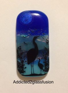 Heron at Sunset Fused Glass Pendant With Black Necklace Wire 2137 by addicted2glassfusion on Etsy https://www.etsy.com/listing/215356671/heron-at-sunset-fused-glass-pendant-with