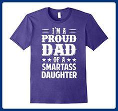 Mens I'm proud dad of a smartass daughter love shirt Medium Purple - Relatives and family shirts (*Amazon Partner-Link)