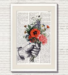 """Dictionary Art Print """"HAND with FLOWERS #109"""",Dictionary Art, Dictionary Print, Lámina de Diccionario Impresa, wall hanging art by Elsie Von Craft"""