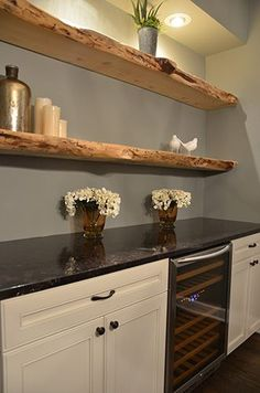 Live edge for fireplace mantel Louise Johnston Design | Kitchen Crashers Episode 509