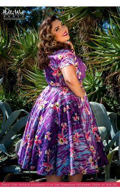 Hawaiian Hideaway Dress in Purple Hawaiian Stripe with Bolero - Plus Size - Plus Size - Clothing Pinup Girl Clothing, Size Clothing, Plus Size Dresses, Plus Size Outfits, Hawaiian Clothes, Hawaiian Dresses, Modelos Plus Size, Vintage Fashion, Vintage Style