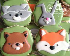 Woodland Animal Fox Raccoon Rabbit Chipmunk Baby Shower Birthday Cookies - 1 Dozen (12 Pcs) by Dolce Custom Cookies on Gourmly