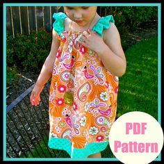 Little Girls Dress Pattern PDF Sewing Patterns, Baby, Easy, Instant Download...The Ruffle Sleeve Dress sizes 12m-8