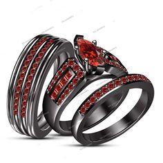 14k Black Gold His/ Her 2.25Ct Red Garnet Engagement Ring Wedding Bands Trio Set #tvsjewelery #EngagementWeddingAnniversaryPromiseValentines