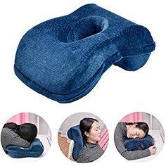 Amazon.com: SOMIDE Nap Sleeping Face Pillow, Memory Foam Slow Rebound Face Down Desk Pillow Sleeper Back Support, Hollow Design, Removable Washable Velvet Cover Blue: Home & Kitchen