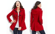 GUESS? Red hooded toggle coat.  This is my coat.  Love it. :)