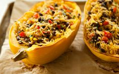 Spicy Spaghetti Squash with Black Beans -  saute onions garlic peppers w/olive oil, add spices, beans and corn, add squash to heat through