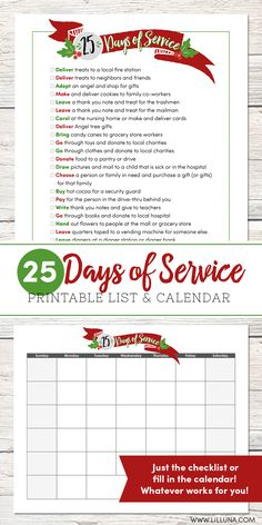 25 Days of Service - a cute printable that shares service ideas for your family to complete during the holiday season. Such a fun idea!