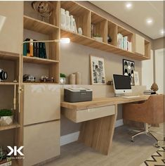 Top 30 Stunning Home Office Design Workspace Design, Home Office Design, Home Office Decor, Interior Design Living Room, House Design, Home Decor, Desk In Living Room, Small Home Offices, Home Office Organization