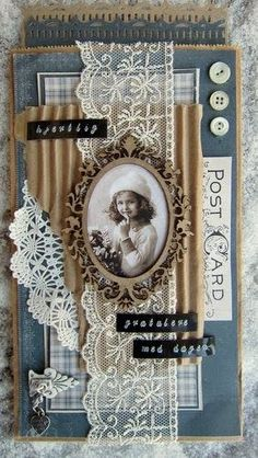 This would make a cute mini scrapbook cover layout Album Vintage, Vintage Scrapbook, Vintage Tags, Vintage Birds, Scrapbook Cover, Mini Scrapbook Albums, Heritage Scrapbook Pages, Karten Diy, Shabby Chic Cards