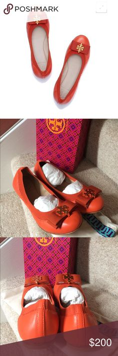 """New TORY BURCH SEDGEWICK BALLET FLAT Shoes Size 5 Brand new with box and dust bag 100% authentic from Tory burch Tory Burch leather flat with grosgrain trim. 0.3"""" stacked heel. Round toe. Bow with golden logo medallion. Elasticized collar. Slip-on style. Padded footbed. Leather outsole Women size 5  Fast shipping Tory Burch Shoes Flats & Loafers"""
