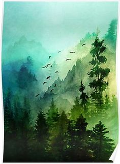 wonderful from each other canvas painting summer, flower painting, sunset painting, chalk paint colors, fondos painting ideas. Check out other wonderful examples Watercolor Painting Techniques, Watercolor Landscape Paintings, Watercolor Trees, Landscape Art, Watercolor Landscape Tutorial, Beautiful Landscape Paintings, Green Watercolor, Art Et Nature, Nature Crafts