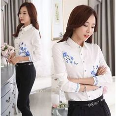Print shirt makes you more graceful and charming. Suitable for daily wearing, dating, party and other occasions. Simple and fashionable, easy to match. It has been cut with regular fit. White Shirts Women, Office Style, Cotton Blouses, Office Fashion, Printed Shirts, Long Sleeve Tops, How To Make, How To Wear, Dating