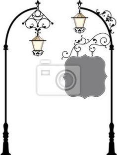 Wall Mural wrought iron signage with lamp - Photo Wallpaper • PIXERSIZE.com