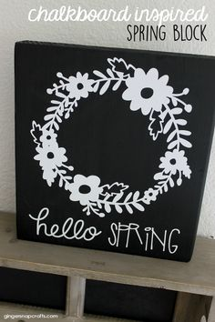 DIY Spring Decor - how to make an easy chalkboard inspired spring block. Cute Easter home decor.