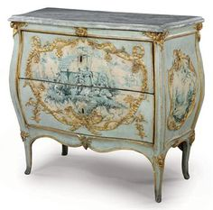 A NORTH ITALIAN PARCEL-GILT, PALE BLUE AND GRISAILLE-DECORATED COMMODE PIEDMONT, THIRD QUARTER 18TH CENTURY With a grey-veined marble top, decorated with rocaille-bordered Chinoiserie scenes similar to the front, on foliate-headed splayed legs, previously with handles and with some subsequent re-decoration 39 in. (100 cm.) high, 46 in. (117 cm.) wide, 22 in. (56 cm.) deep 38750 against a pae of 10-15