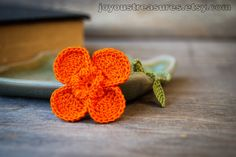 Crochet Flower Bookmark Orange Poppy by joyoustreasures on Etsy, $18.00