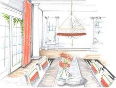 Breakfast Room design by Roxanne Lumme Interiors, rendering by Jane Gianarelli.