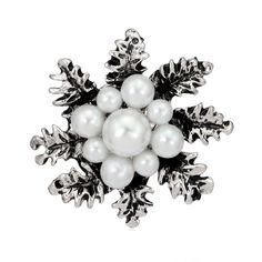 Simple Fashion Snowflake Simulated-Pearl Brooch Pin Bags Clothing Hats Scarves Corsage Jewelry Accessories For Gifts Jewelry Stores, Jewelry Sets, Jewelry Accessories, Pearl Brooch, Brooch Pin, White Snowflake, Snowflakes, Corsage, Vintage Winter