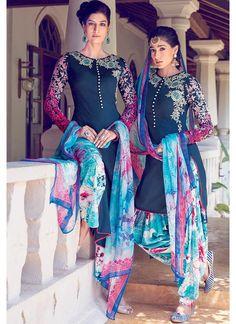 Deep Blue Straight Cotton Satin Suit