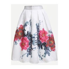 White Flower Print Box Pleated Skirt ❤ liked on Polyvore featuring skirts, white knee length skirt, floral box pleat skirt, floral print skirt, white box pleat skirt and box pleat skirt