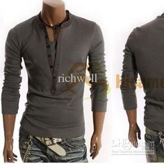 Wholesale T Shirt - Buy New Style Men's T-Shirt Long Sleeve V-Collar M L XL Casual Dress For &Retail Free Shipping, $16.66 | DHgate