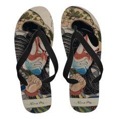 Ichikawa Danjuro IV in the Role of Kagekiyo art Flip Flops #japanese #oriental #gifts #accessories #japan #customizable #gift #samurai #kabuki
