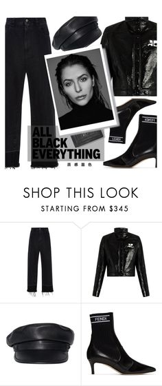 """""""MISSION MONOCHROME All-Black Outfit : Wine"""" by riskiarrafida ❤ liked on Polyvore featuring Rachel Comey, Courrèges, Dsquared2, Fendi, Vision and Gabriella"""